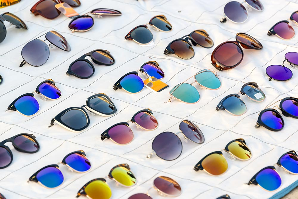 Collection of prescription sunglasses on display